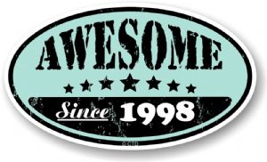 Distressed Aged Awesome Since 1998 Oval Design External Vinyl Car Sticker 70x120mm